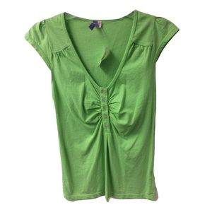 NWT Size XS Mother of Pearl Button Green Blouse